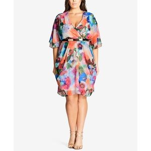 NWT City Chic Bright Floral Belted Faux Wrap Dress
